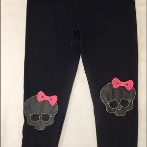 ♥️ Monster High Leggings 10-12 Pink Black Skulls